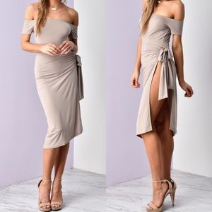 Dresses & Skirts - 🆕 🎀HP🎀 Elise Taupe Side Tie Up Midi
